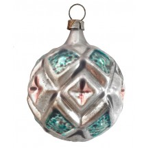 "Aqua and Pink Geometric Ball Glass Ornament ~ Germany ~ 2-1/4"" tall"