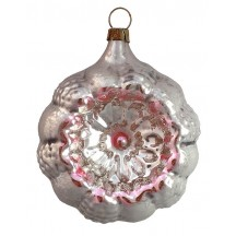 """Silver and Pink Fancy Glass Floral Indent Ornament ~ Germany ~ 3"""" tall"""