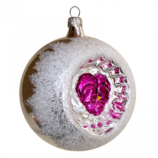 """Fuchsia Pansy Silver Reflector Indent Ornament ~ Germany ~ 3"""" across"""