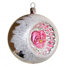 """Matte Light Pink Pansy Silver Reflector Indent Ornament ~ Germany ~ 3"""" across"""
