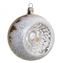 """Matte White Pansy Silver Reflector Indent Ornament ~ Germany ~ 3"""" across"""