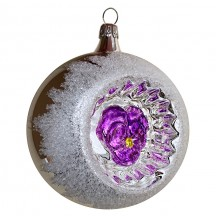 "Purple Pansy Silver Reflector Indent Ornament ~ Germany ~ 3"" across"