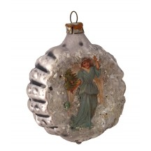 "Angel Scrap on Fancy Silver Blown Glass Ornament ~ Germany ~ 2-1/4"" across"