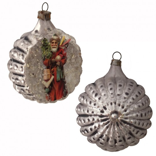 "Santa Scrap on Fancy Silver Blown Glass Ornament ~ Germany ~ 2-1/4"" across"