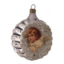"Cherub Scrap on Fancy Silver Blown Glass Ornament ~ Germany ~ 2-1/4"" across"
