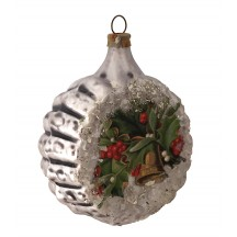 "Holly and Bell Scrap on Fancy Silver Blown Glass Ornament ~ Germany ~ 2-1/4"" across"