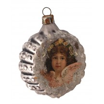 "Pink Angel Scrap on Fancy Silver Blown Glass Ornament ~ Germany ~ 2-1/4"" across"