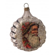 "Red Santa Scrap on Fancy Silver Blown Glass Ornament ~ Germany ~ 2-1/4"" across"