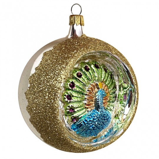 """Fancy Peacock Silver Reflector Indent Ornament ~ Germany ~ 3"""" across"""
