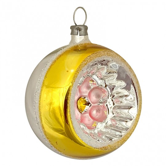 "Gold and Pink Flower Indent Reflector Glass Ornament ~ Germany ~ 2-1/2"" tall"