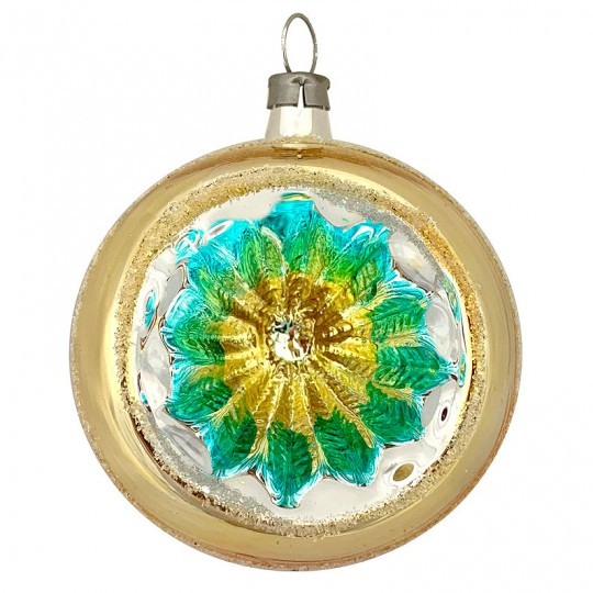 "Gold and Blue Geometric Indent Reflector Glass Ornament ~ Germany ~ 2-1/2"" tall"