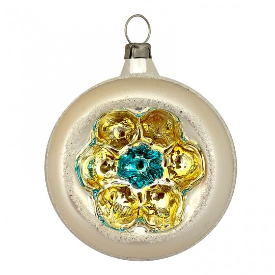 "Gold and Blue Flower Indent Reflector Glass Ornament ~ Germany ~ 2-1/2"" tall"