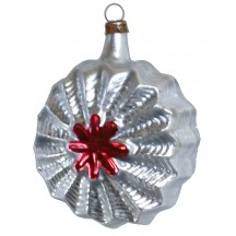 "Silver and Red Starburst Ornament ~ Germany ~ 3"" tall"