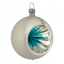 "Blue and Silver Patina Indent Reflector Glass Ornament ~ Germany ~ 2-1/2"" tall"