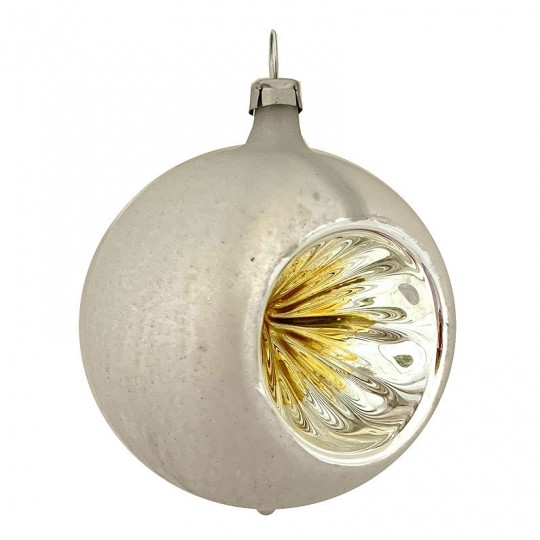 "Light Yellow and Silver Patina Indent Reflector Glass Ornament ~ Germany ~ 2-1/2"" tall"