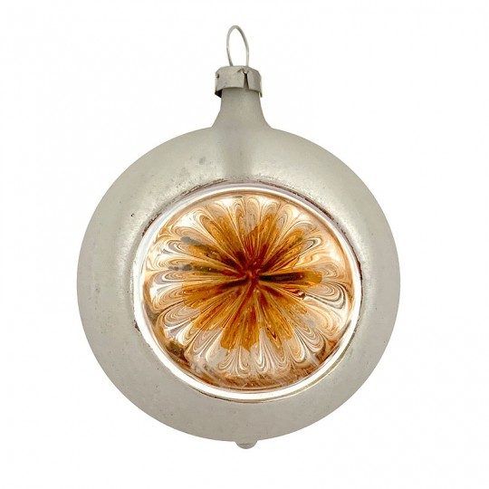 "Orange and Silver Patina Indent Reflector Glass Ornament ~ Germany ~ 2-1/2"" tall"