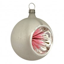 "Pink and Silver Patina Indent Reflector Glass Ornament ~ Germany ~ 2-1/2"" tall"