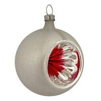 """Red and Silver Patina Indent Reflector Glass Ornament ~ Germany ~ 2-1/2"""" tall"""