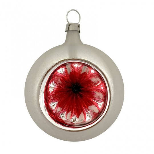 "Red and Silver Patina Indent Reflector Glass Ornament ~ Germany ~ 2-1/2"" tall"