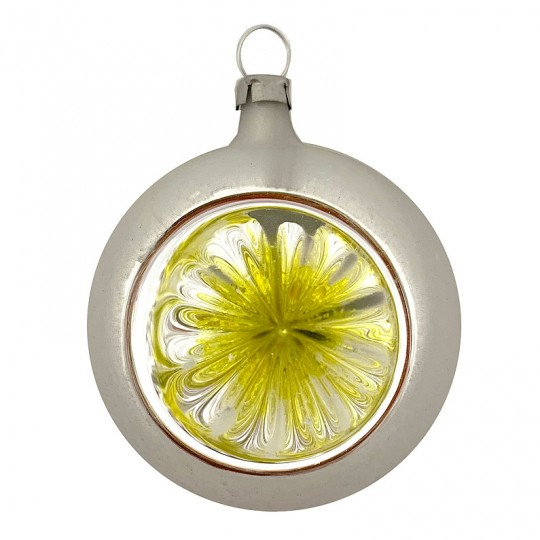 "Yellow and Silver Patina Indent Reflector Glass Ornament ~ Germany ~ 2-1/2"" tall"