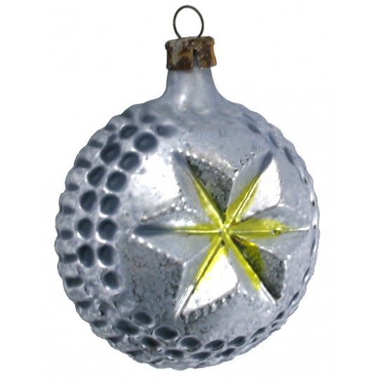 """Silver and Gold Indented Star Glass Ornament ~ Germany ~ 2-5/8"""" tall"""