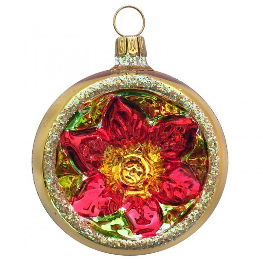 "Gold and Silver Poinsettia Indent Ornament ~ Germany ~ 2-1/4"" across"