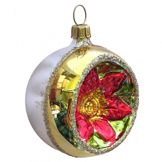 """Gold and Silver Poinsettia Indent Ornament ~ Germany ~ 2-1/4"""" across"""