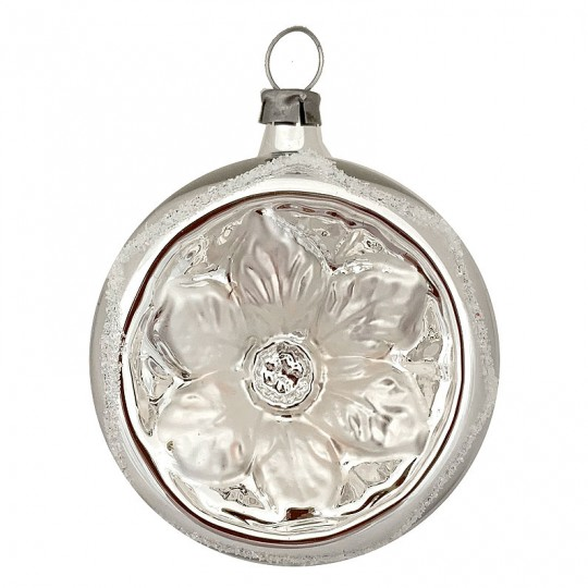 "White and Silver Poinsettia Indent Ornament ~ Germany ~ 2-1/4"" across"