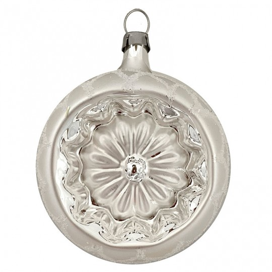 "White and Silver Snow Flower Indent Ornament ~ Germany ~ 2-1/4"" across"