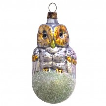 "Owl on Snowball Blown Glass Ornament ~ Germany ~ 3-1/2"" tall"