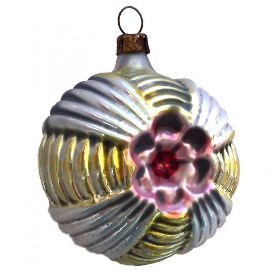 """Gold, Burgundy and Pink Geometric Flower Ball Glass Ornament ~ Germany ~ 2-1/2"""" tall"""
