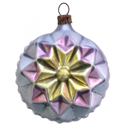 "Gold and Pink Geometric Star Ball Glass Ornament ~ Germany ~ 2-3/4"" tall"