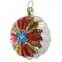"""Silver and Blue Colorful Starburst Ornament ~ Germany ~ 3"""" tall"""