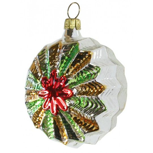 """Silver and Red Colorful Starburst Ornament ~ Germany ~ 3"""" tall"""