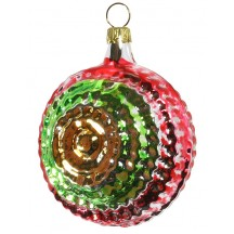 "Glossy Red, Gold and Green Christmas Ornament ~ Germany ~ 3"" tall"