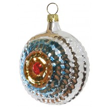 "Glossy Silver and Blue Christmas Ornament ~ Germany ~ 3"" tall"