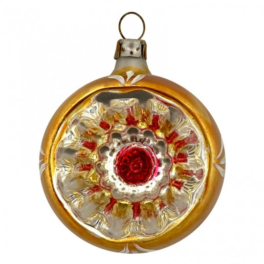 "Goldenrod Old World Reflector Indent Glass Ornament ~ Germany ~ 2-3/4"" tall"