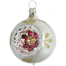 """Silver and Gold Floral Indent Ornament ~ Germany ~ 2-3/4"""" tall"""