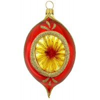 """Glossy Red and Gold Indent Ornament ~ Germany ~ 4"""" tall"""