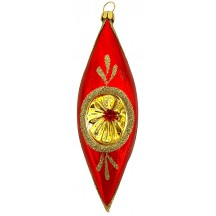 "Glossy Red and Gold Indent Drop Ornament ~ Germany ~ 5-1/4"" tall"