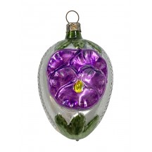 "Purple Pansy Egg Glass Ornament ~ Germany ~ 3"" tall"