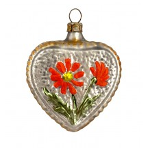 "Floral Heart Blown Glass Ornament ~ Germany ~ 2-3/4"" tall"