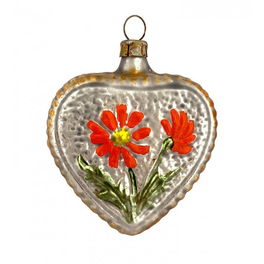 """Floral Heart Blown Glass Ornament ~ Germany ~ 2-3/4"""" tall"""