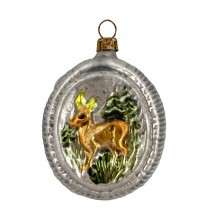 "Deer in Forest Blown Glass Ornament ~ Germany ~ 2-3/4"" tall"