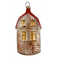 "Stone Cottage House Blown Glass Ornament ~ Germany ~ 3-1/2"" tall"