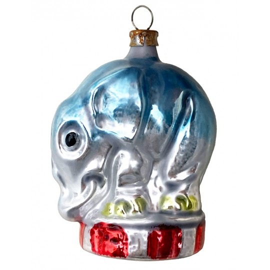 """Circus Elephant Blown Glass Ornament ~ Germany ~ 2-1/2"""" tall"""