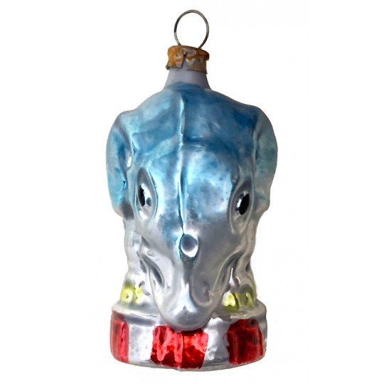 "Circus Elephant Blown Glass Ornament ~ Germany ~ 2-1/2"" tall"