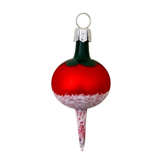 """Red Radish Blown Glass Ornament ~ Germany ~ 2-1/4"""" tall"""