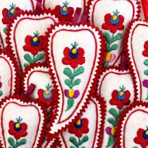 "Hand Embroidered Felt Chili Paprika Ornament ~ Kaloska Matyo Hungary ~ 5-3/4"" tall"