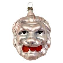 "Large Lion Head Blown Glass Ornament ~ Germany ~ 3"" tall"